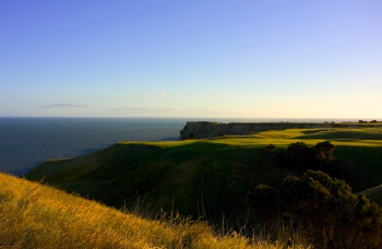 Cape Kidnappers, view across 12 and 13 greens, 15 beyond