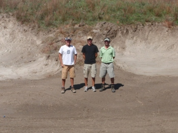 The finish crew for Phase 1 at Dismal River Red, Brett Hochstein, Zach Varty and Jeff Stein